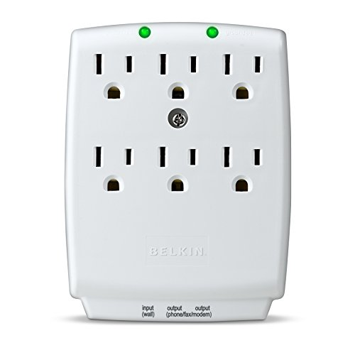 Belkin 6-Outlet SurgeMaster Wall-Mount Surge Protector, 1240 Joules (F9H620-CW)