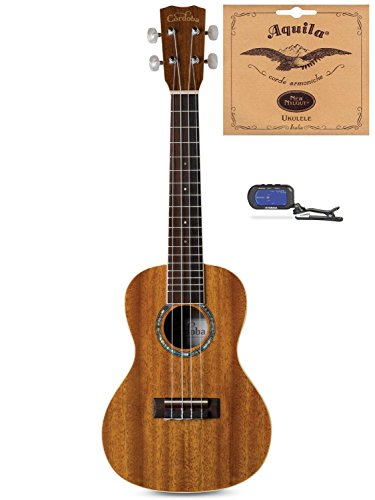 Cordoba 15CM Concert Ukulele Bundle With Free Extra Set of Aquila Concert Strings (7U) & Ukulele Tuner
