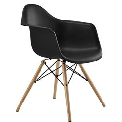 DHP C013701 Mid Century Modern Chair with Molded Arms and Wood Legs, Black