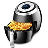 Air Fryer XL 1500W 3.8 QT Digital Oil Free Power Airfryer Oven with Detachable Basket Dual Timer Temperature Control LED Display and Cookbook (3.8 QT)