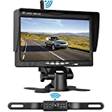 "LeeKooLuu Wireless Backup Camera System for Car/Pickups/Minivan/Truck with 7"" LCD Monitor Rear/Front View System IP68 Waterproof Night Vision Guide Lines ON/Off for Continuous/Reversing Use"
