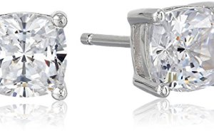 Platinum Plated Sterling Silver Cushion Cut 6mm Cubic Zirconia Stud Earrings (2 cttw)