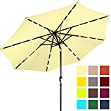 Best Choice Products 10ft Solar LED Lighted Patio Umbrella w/Tilt Adjustment, Fade-Resistant Fabric - Pale Yellow