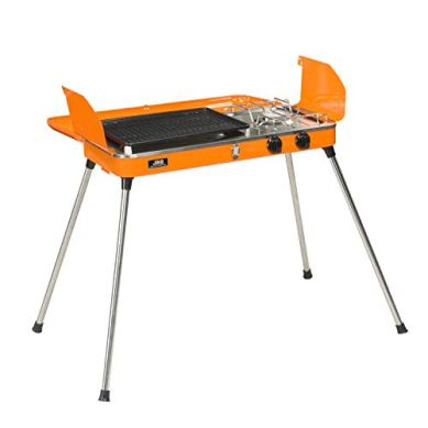 KOOLWOOM-Portable-Liquid-Propane-Grill2-Burner-GrillStove-Barbecue-Grill-Outdoor-Cooking-Camping-Stove-Stainless-Steel-Orange