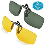 Splaks Clip-on Sunglasses, Unisex Polarized Frameless Rectangle Lens Flip Up Clip on Prescription Sunglasses Eyeglass, 2-Piece Clip on Glasses + Night Vision Glasses - Dark Green
