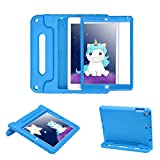 HDE Case for iPad 9.7-inch 2018 / 2017 Kids Shockproof Bumper Hard Cover Handle Stand with Built in Screen Protector for New Apple Education iPad 9.7 Inch (6th Gen) / 5th Generation iPad 9.7 - Blue
