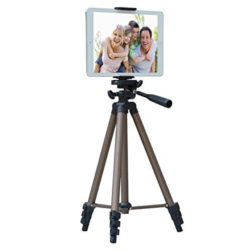 APRO 50-inch Lightweight Aluminum Tripod for Phone Camera Tablet ipad + 2 in 1 Holder Mount Fits Smartphone(Width 2″-3.2″) and Tablet (Width 4.3″-7.2″)