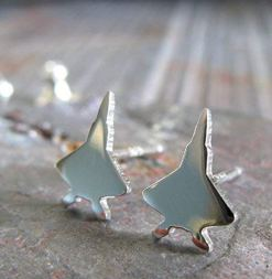 F-22 Jet fighter handmade sterling silver stud earrings??