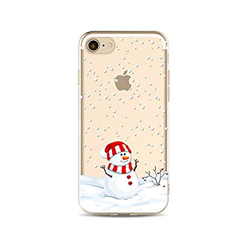 Case for iPhone 7 Plus/iPhone 8 Plus Christmas, Slim Silicone Clear TPU Protective Cover for 5.5' iPhone 7 Plus/iPhone 8 Plus, Cell Phone Ultra Thin Rubber Back Skin Snowman Snowflake Pattern