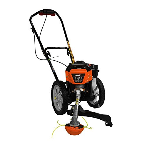 .Powermate. 17 in. 43cc 2-Stroke Engine Walk Behind Wheeled Multi String Trimmer Mower with Heavy Duty 12' ball Bearing Wheels, 35% More Torque Vs. Hand Held String Trimmers