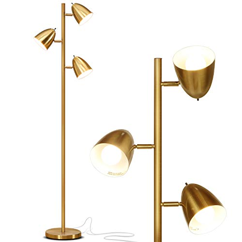 Brightech Jacob - LED Reading and Floor Lamp for Living Rooms & Bedrooms - Classy, Mid Century Modern Adjustable 3 Light Tree - Standing Tall Pole Lamp with 3 LED Bulbs - Antique Brass/Gold