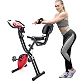 Merax 3 in 1 Adjustable Folding Exercise Bike Convertible Magnetic Upright Recumbent Bike with Arm Bands (Red)