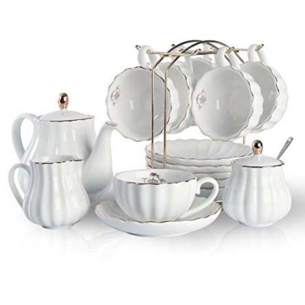 Porcelain Tea Sets British Royal Series, 8 OZ Cups& Saucer Service for 6, with Teapot Sugar Bowl Cream Pitcher Teaspoons