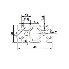 FEYRINX-2PCS-2040-Aluminum-Extrusion-Profile-European-Standard-Anodized-Black-V-Type-Linear-Rail-for-3D-Printer-Length-200mm