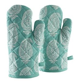 Amazon Brand – Solimo 100% Cotton Padded Oven Gloves, Paisley (Pack of 2, Orange)