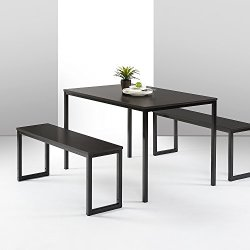 Zinus Louis Modern Studio Collection Soho Dining Table with Two Benches (3 piece set) – Espresso