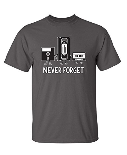 Never Forget Funny Retro Music Mens Novelty Funny T Shirt XL Charcoal