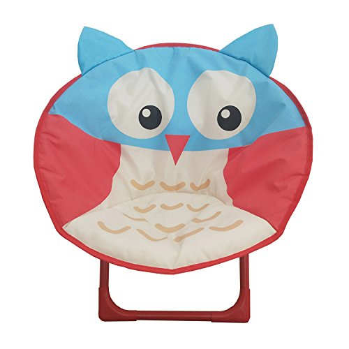 db Living Comfortable Kids Folding Moon Chair for indoor and outdoor Owl animal Design chair for children (Owl)