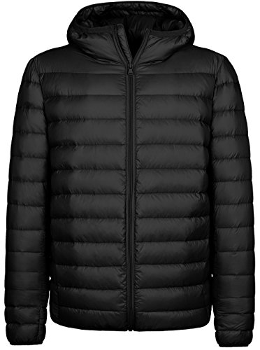 Wantdo Men's Hooded Packable Light Weight Down Jacket Large Black