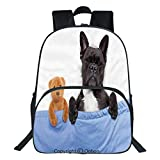 Oobon Kids Toddler School Waterproof 3D Cartoon Backpack, French Bulldog Sleeping with Teddy Bear in Cozy Bed Best Friends Fun Dreams Image, Fits 14 Inch Laptop