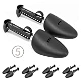 5 Pairs Adjustable Shoe Tree | Shoe Shaper and Shoe Stretcher | Great for all Shoes, Heels, and Sneakers - UNISEX for Men and Women - Premium Plastic Shoe Tree