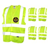 KwikSafety (Charlotte, NC) CREW Class 2 ANSI (Snag Free Breakaway Closure) Safety Vest (5 PACK) High Visibility Lightweight Reflective Tape Hi-Vis Construction Work Hi-Viz Surveyor Mens Yellow Large