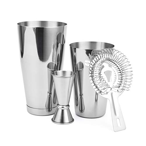 Boston Shaker 4 Piece Cocktail Making Set: 18oz Unweighted & 28oz Weighted Professional Bartender Cocktail Shaker Set with Double Jigger and Hawthorne Strainer/Cocktail Recipe Booklet