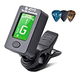 BROTOU Guitar Tuner Clip-On Tuner Digital Electronic Tuner Acoustic with LCD Display for Guitar, Bass, Violin, Ukulele (3 PCS Picks Included) (three)