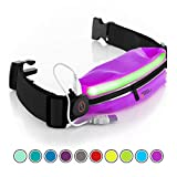 Running Belt USA Patented - Hands-Free Workout Fanny Pack - iPhone X 6 7 8 Plus Buddy Pouch for Runners - Freerunning Reflective Waist Pack Phone Holder - Fitness Gear Accessories (Purple LED)