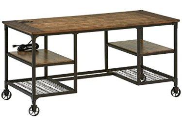 Stone & Beam Elias Industrial Metal Office Computer Desk, 60'W, Brown/Black