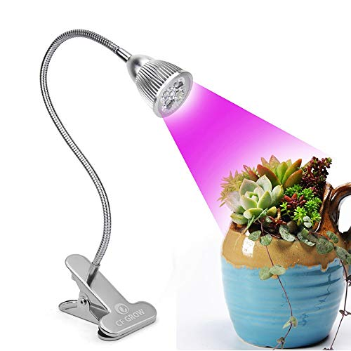 Led Grow Light, CF GROW Desk Clip LED Plant Grow Lamp 5W with 360° Flexible Gooseneck for Indoor Office Home Garden Greenhouse Plants Growing Lighting (5W)