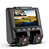 TOGUARD Uber Dual Dash Cam Full HD 1080P+1080P Inside and Outside Car Camera Dash Cams 3' LCD 340° Dashboard Camera with G-Sensor, WDR, Parking Monitor, Motion Detection for Lyft Car Taxi