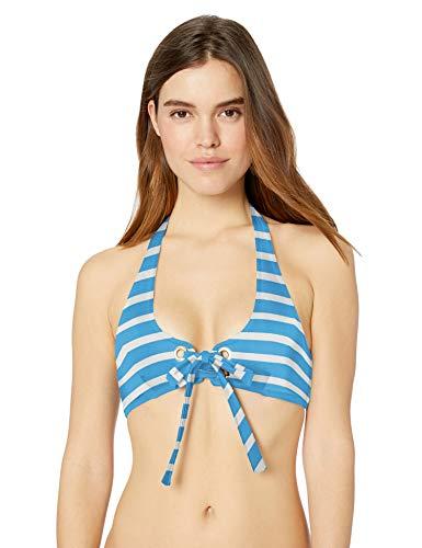 81un2lc CQL Stripe bikini top Halter bikini top Blue and white stripe bikini top