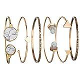 Goddesslili Classic Gold Bracelet for Women Girls Teen Set of 6 PCs Lovely Heart Cuff Vintage Retro Wedding Engagement Anniversary Jewelry Gift Under 5 Dollars