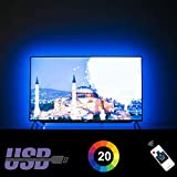 HAMLITE LED TV Backlight 60 65 Inches TV Bias Lighting, Custom USB TV Light Strip to Cover 4/4 Sides of 60 65' TVs Without Dark Spot, RF Remote, 16 Colors, 20 Dynamic Modes, 13.1 Feet