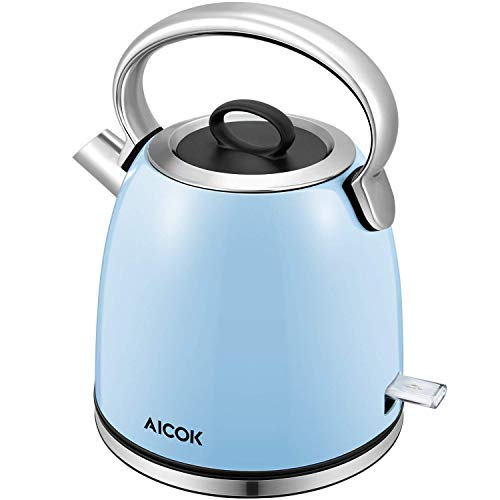 Electric Kettle Retro Electric Tea Kettle, Premium 304 Stainless Steel Kettle with PowderBlue Anti Oxidant Coating and Removable Limescale Filter, 1.7L Cordless Water Kettle, Boil Dry Protection, Auto Shut off, by Aicok