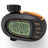 TACKLIFE Watering Timer, Outdoor Single Outlet Automatic On Off Hose Faucet Timer, Solar Battery Can Last One Year. Smooth and Concise Oval Design, Huge LCD Display Screen, Big comfortable Buttons