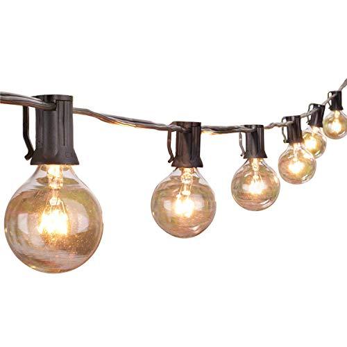 50Ft Outdoor Patio String Lights with 50 Clear Globe G40 Bulbs,UL Certified for Patio Porch Backyard Deck Bistro Gazebos Pergolas Balcony Wedding Gathering Parties Markets Decor, Black