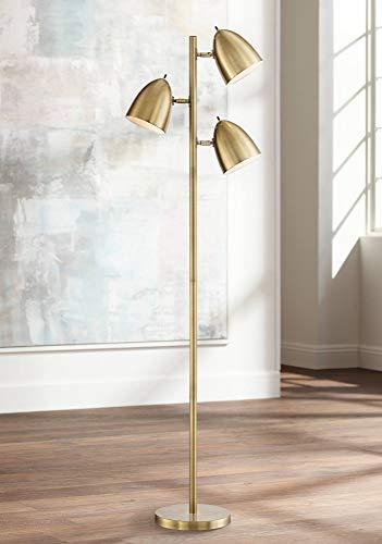 Aaron Mid Century Modern Floor Lamp Aged Brass 3-Light Tree Adjustable Dome Shades for Living Room Reading Bedroom Office - 360 Lighting