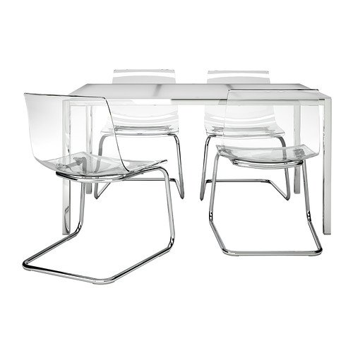 Amazoncom Ikea Table And 4 Chairs Glass White Clear