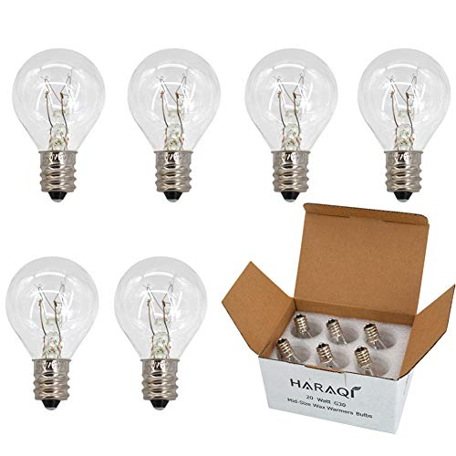 6 Pack Wax Warmer Bulbs,20 Watt Bulbs for Middle Size Scentsy Warmers,G30 Globe E12 Incandescent Candelabra Base Clear Light Bulbs for Candle Wax Warmer,Long Last Lifespan