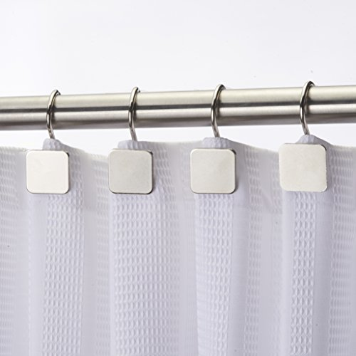 Hermosa Collection Luxury Hotel Shower Curtain Hooks Square Modern Design Silver (12-pk.)