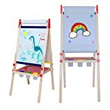 Easel for Kids,Kids Easel with Paper Roll,Magnetic Painting Chalkboard and Dry Erase Childerns Easel with Accessories.