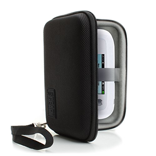 USA Gear Portable WiFi Hotspot Carrying Case with Wrist Strap - Compatible w/ 4G LTE Wi-Fi Mobile Hotspots from AT&T, Verizon, Sprint, T-Mobile, Skyroam Solis, GlocalMe, Netgear, Huawei & More - Black