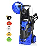 Goplus 3000PSI Electric High Pressure Washer, 2 GPM 2000W Portable Power Washer w/Deck Patio Cleaner & Nozzles (Blue)