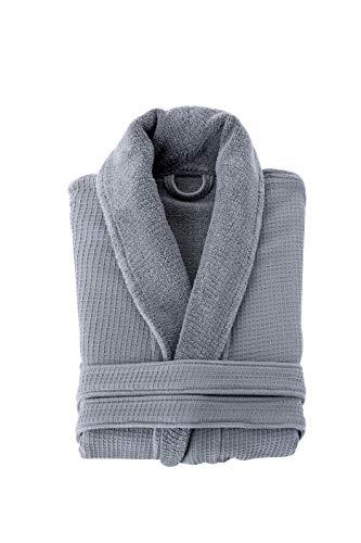 Grund Ocean Isle 100% Organic Turkish Cotton, Luxury Spa, Small to Medium, Slate Gray, Bath Robe