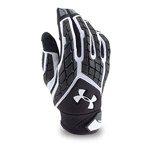 Under Armour Mens Combat V Football Gloves, White/Black, Large