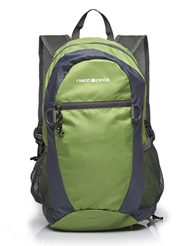 NeatPack Durable, Foldable Nylon Backpack/Daypack with Security Zippers, 20L, Green