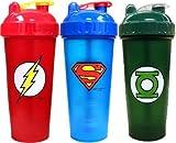 PerfectShaker Hero Series Shaker, Green Lantern, Superman, and Flash (800ml) Combo