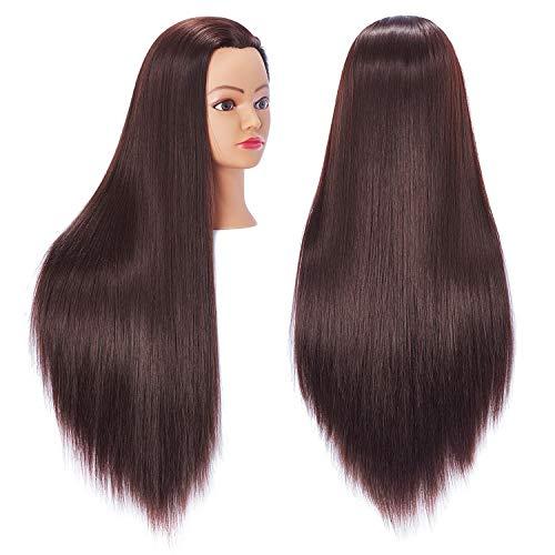 Hairingrid 26'-28' Mannequin Head Hair Styling Training Head Manikin Cosmetology Doll Head Synthetic Fiber Hair and Free Clamp Holder(R71818LB0420)